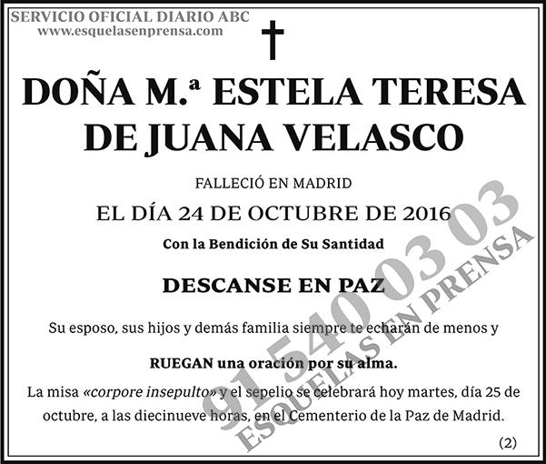 M.ª Estela Teresa de Juana Velasco